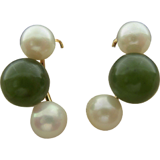 Jade and Cultured Pearl Clip-Back Earrings
