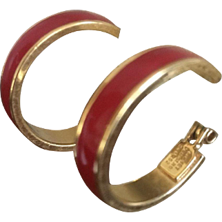 Red Enamel MONET Hoops