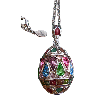 "Exceptional Joan Rivers Jeweled Russian Egg Pendant Necklace Signed with 28"" Rope Chain"