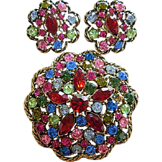 Colorful, Sparkling Signed WEISS Pin and Earring Set