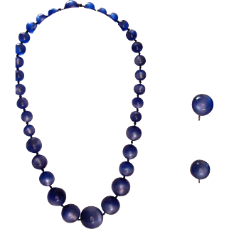 Blue Moonstone Necklace and Earrings Set in Sterling