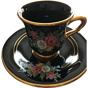 Hand Made in Greece Demitasse / Espresso Cup and Saucer Rimmed in 24K Gold