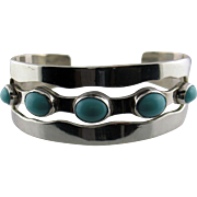 Wide Sterling Silver and Turquoise Color Stone Cuff Bracelet 44 Grams