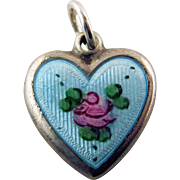 Vintage Sterling Silver Blue Guilloche Enamel With Rose Puffy Heart Charm