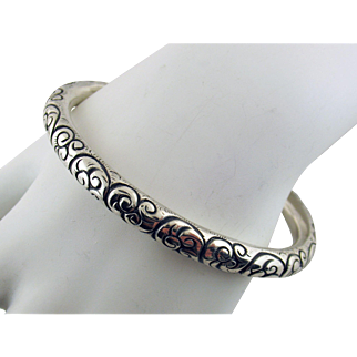 Victorian Hand Chased Sterling Silver Bangle Bracelet