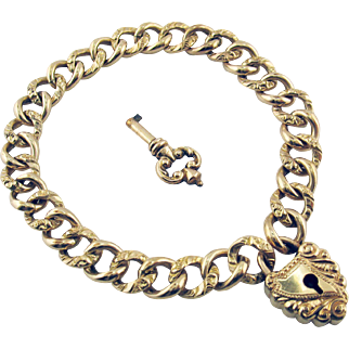 Victorian 10 Karat Gold Filled Repousse Curb Link Bracelet with Heart Clasp