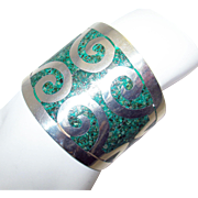 Mexico Wide Sterling Silver and Inlaid Turquoise Cuff Bracelet by HMP with Taxco Eagle 3 Stamp