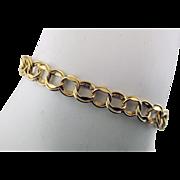 Vintage 14 Karat Yellow Gold Double Link Starter Charm Bracelet 7 Inches