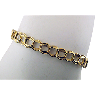 Vintage 14 Karat Yellow Gold Double Link Starter Charm Bracelet 7 Inches