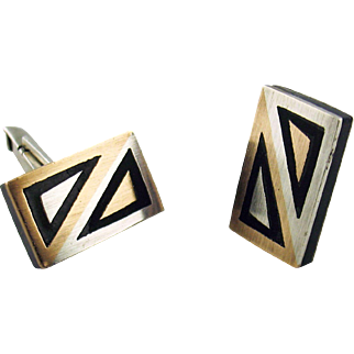 Reveriano Castillo, Mexico Silversmith, Sterling Silver and Mixed Metals Cufflinks