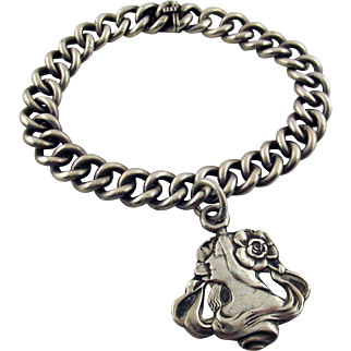 Unger Brothers Sterling Silver Curb Link Bracelet with Art Nouveau Charm