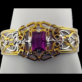 J.J. White Art Deco Filigree Hinged Bangle Bracelet with Unfoiled Fuschia Color Rhinestone