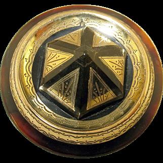 Victorian Pique Hexagon Shape Three Dimensional Dome Brooch