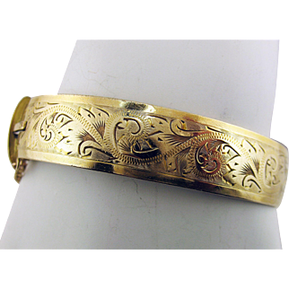 Henry Griffiths & Sons 9 Karat Metal Core P/S Yellow Gold Etched Hinged Bangle Bracelet