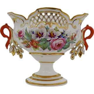 "Highly Unusual ""Old Paris"" Center Bowl with Orange Handles"