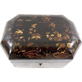 Chinoiserie Tea Caddy with Original Tins, ca. 1820's