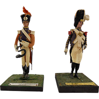 Pair of French 19th Century Papier Mache Imperial Soldiers