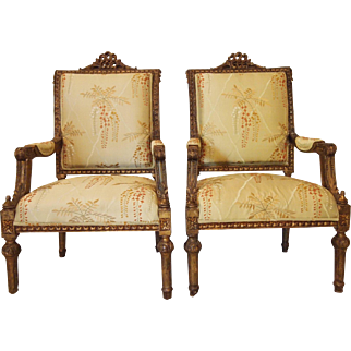 Pair of 19th Century Italian gilded chairs