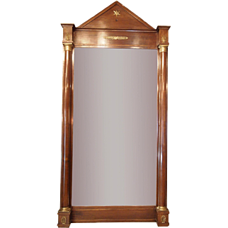 French Empire mahogany and bronze mirror