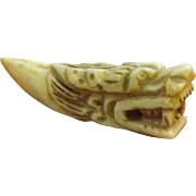 Chinese Rare Old Tooth Handiwork Carving NETSUKE DRAGON - Post 1900
