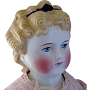 """25"""" Dolly Madison China Doll~ Early~  Blonde with Bow & Hair band~ Ears Exposed"""
