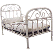 ~ Marklin Miniature Painted Iron Bed with Real Spring Mattress Support~
