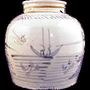 Antique Blue & White Ginger Jar Signed