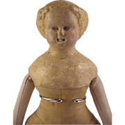 M S Superior ~Paper mache head doll 13 inch ~ Early folk art Body~