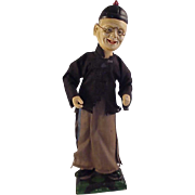 "Vintage 14"" Wooden Chinese Man, Old Man On Stand, Spring Arms"
