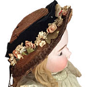 Straw Hat with Flowers and Velvet ribbons for Antique doll