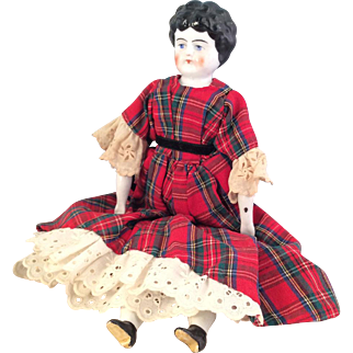 "Antique China Doll ~12""  Red Tartan Plaid dress"