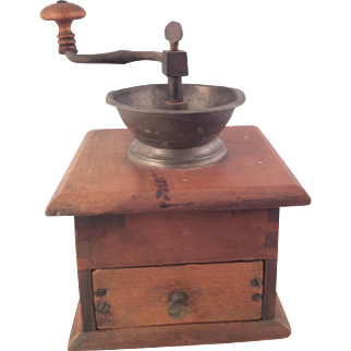Antique Walnut Coffee Mill Grinder~  Great Age and Patina