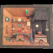 Swiss Chalet Diorama Music Box~circa 1920