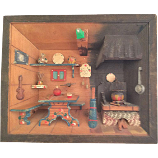 Swiss Chalet Diorama Music Box~circa 1920