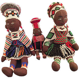 Great South African Beaded Zulu Doll Family~ Red Cross Society Durban  1949~