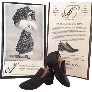 """Doll size """"Candee"""" rubber galoshes~ Beacon Slippers~ Advertising Premium- Sample"""