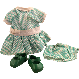 1950's Vogue Ginny Dress, shoes and panties~ green pique  - Medford Tagged