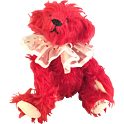 "8"" Red Mohair Teddy Bear~ Haskell Artist Signed ~OOAK~"