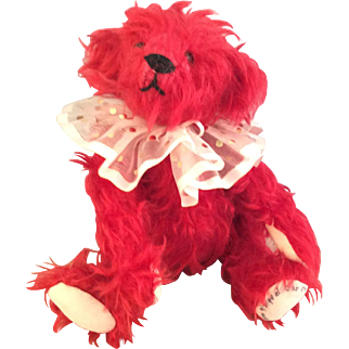 """8"""" Red Mohair Teddy Bear~ Haskell Artist Signed ~OOAK~"""