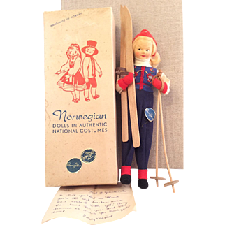 """Ronnaug Petterssen~ Mint in Box~ Cloth Face """"Skier"""" Gal~ 8"""" Perfectly delightful!"""