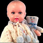 Big German Celluloid Baby Doll w Pacifier~ Turtle  Mark~ Original Accessories