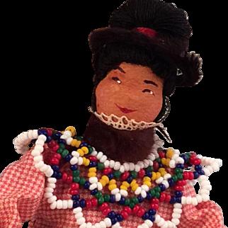 Vintage Beaded Lapland ~ Inuit  Doll~Native Folk Art Craft~