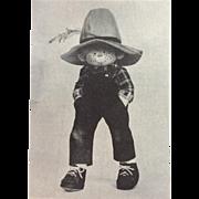 "Jed~15.5""  Cloth Doll Pattern by Rainie Crawford~ Un-Cut~ with original materials~"