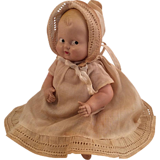 "Vintage Celluloid Googly Baby Doll ~All Original ~ 7.5""~ Painted Eyes"