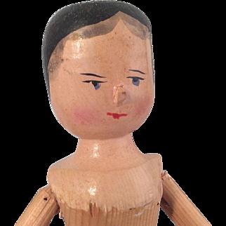 """Antique Penny Wooden Doll ~ Grodnertal 12"""""""