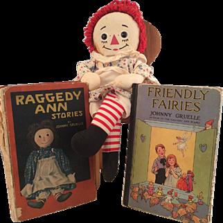 2 Original Raggedy Anne Books & Knickerbocker Doll