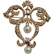 Stunning Pearl and Diamond Brooch, 14Kt YG