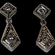 Vintage Diamond Drop Earrings, 14 kt White Gold
