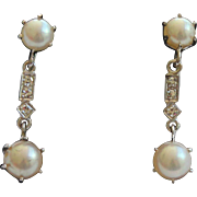 Vintage Diamond and Cultured Pearl Drop Earrings.14 kt White Gold
