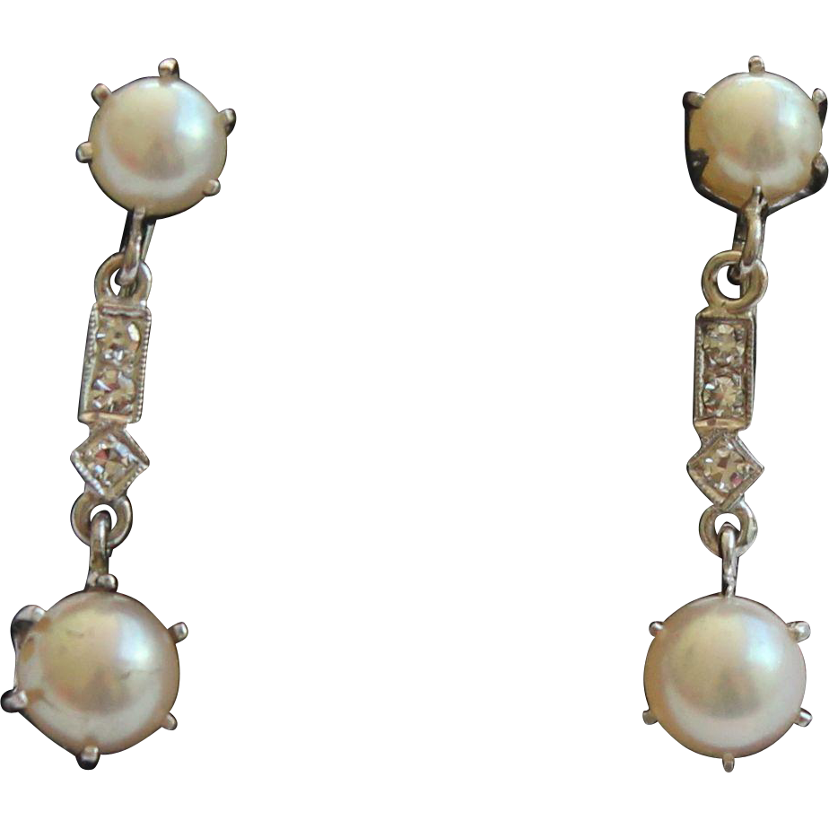 vintage and cultured pearl drop earrings 14 kt